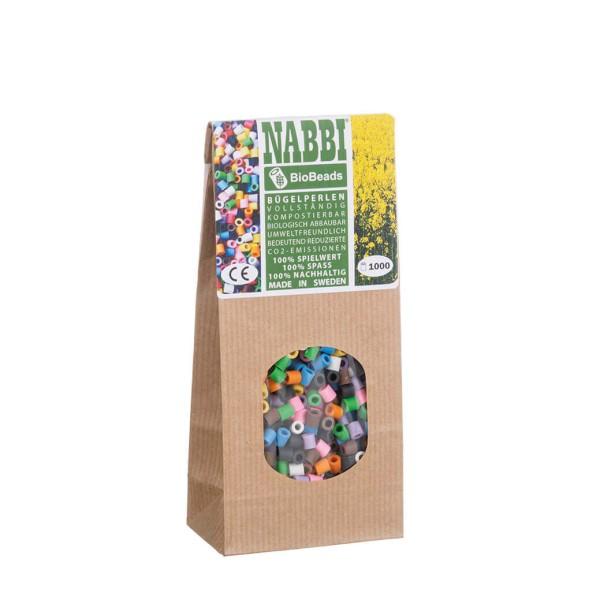 Nabbi® Bio Bügelperlen Ø 5mm, 1.000 Stk., 10 Farben Mix