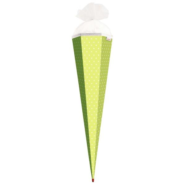 Roth Basteltüte Hellgrün - weiße Herzen, 85cm, eckig, Rot(h)-Spitze, Tüllverschluss
