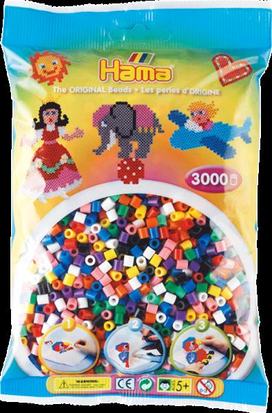 Hama Perlenbeutel 3000 Stk., Vollton-Mix 10 F
