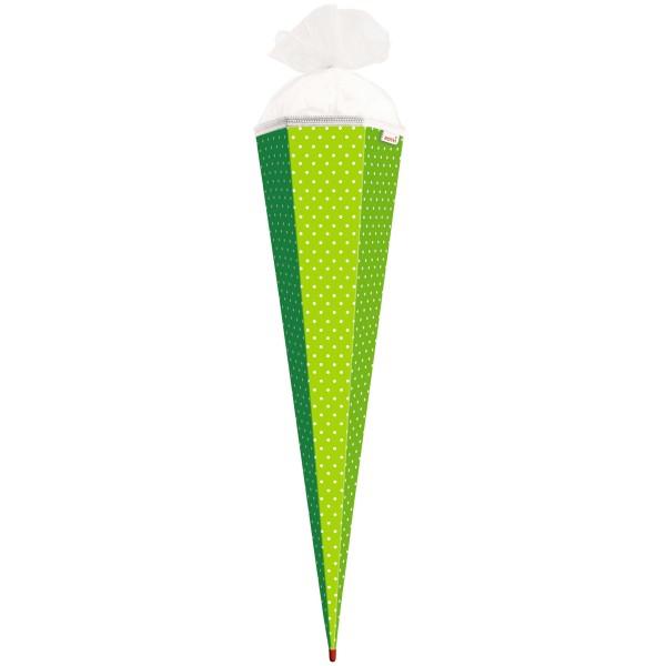 Roth Basteltüte Grün - weiße Punkte, 85cm, eckig, Rot(h)-Spitze, Tüllverschluss
