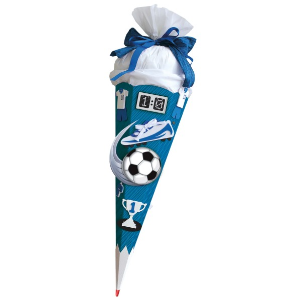 Roth Schultüten-Bastelset mit Effekten (Sound) und Moosgummiteilen, Soccer - Bastelset, 68cm, eckig,