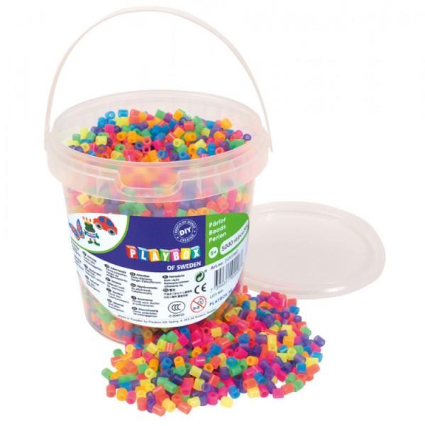 Playbox Dose 5000 Stück Midi Perlen neon 2