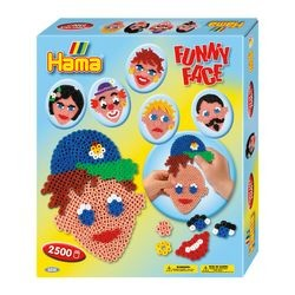 Hama Bügelperlen Funny Face 2500 Midi Perlen mit 1x Stiftplatte
