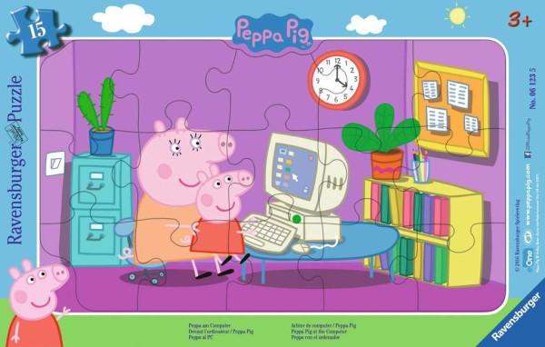 Ravensburger Kinderpuzzle Peppa am Computer