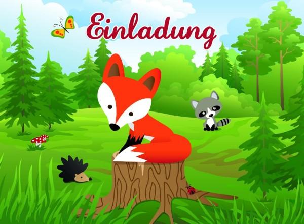 Einladung zum Geburtstag kleiner Fuchs - 8er Pack inkl. Umschlag