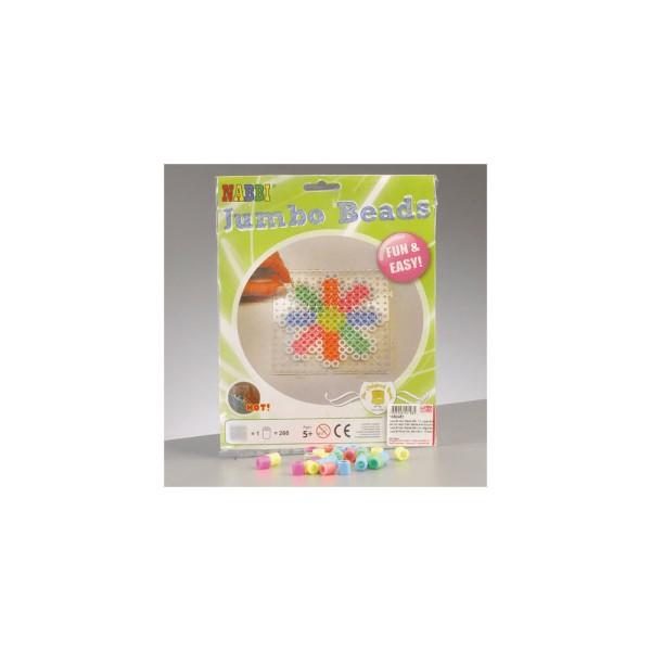 Nabbi®Jumbo Beads -Bügelperlen mit Stiftplatte, Ø 10mm 260 Stk.,Pastell Mix