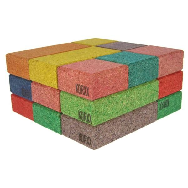 Korxx rechteckige und quadratische Bauklötze in bunten Farben 38 Stk.