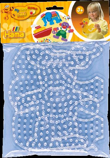 Hama Maxi Stiftplatten - Elefant und Teddy, transparent