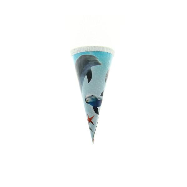 Roth Geschenktüte Delfin mit Seesternen, 15cm, rund, Kreppverschluss